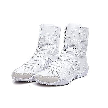 7f22a7ed JUWOJIA La Mujer Zapatillas Botas De Cuero Genuino Martins Botas Calzado  Casual Blanca Cabeza Redonda Plana con Cordones, Zapatos De Mujer,Blanca,5.5:  ...