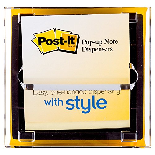 Post-it Pop-up Notes Dispenser DS330-BK, 3 in x 3 in, Black Base Clear Top (3m Refill Sticky Notes)