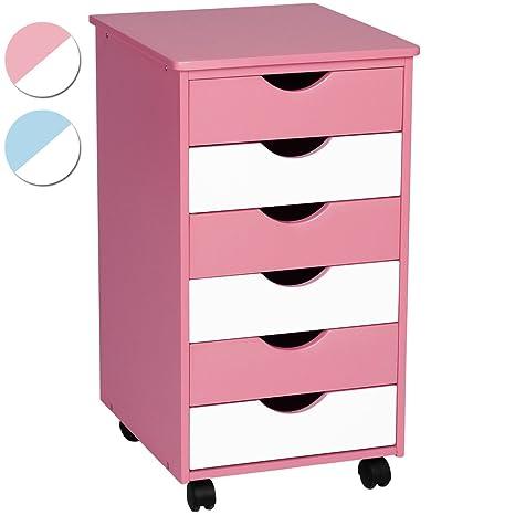 Infantastic Cómoda para niños con cajones | cajonera con ruedas | 6 cajones de plástico, rosa-blanco