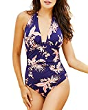 Funnygirl Women's One Piece Swimsuits Tummy Control Swimwear Slimming Monokini Bathing Suits Backless V Neck Halt Navy Blue Orange Print X-Large