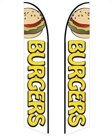 Burgers - Style 4 Double-Sided, Poles and Spike Base Included 10ft Feather Banner