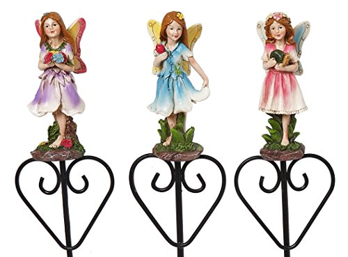 Set of 3 Premium Garden Plant Stakes for Plants and Flowers (Friendly Fairies) ()