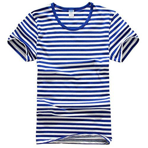 Baymate Unisexo Marina Camiseta De La Raya De Manga Corta Con Cuello Redondo Clásico Tee Zafiro Azul