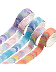 Rolls Dot Washi Tape, Flower Petals Colors Washi Tape Scented Candy Dot Washi Tape Round Stickers for Card-Making, Scrapbooking, Diary, Bullet Journal, Planner, Envelope and Notebooks