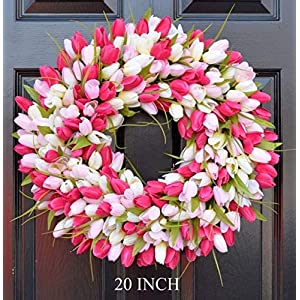 Elegant Holidays Handmade Pink/White Silk Tulip Wreath- Decorative Home Décor for Indoor/Outdoor- Welcome Guests in Spring, Summer with Front Door Wreaths- Great Easter Holiday Accent- 16-26 inches 85