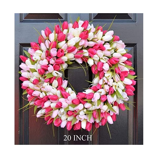 Elegant Holidays Handmade Pink/White Silk Tulip Wreath- Decorative Home Décor for Indoor/Outdoor- Welcome Guests in Spring, Summer with Front Door Wreaths- Great Easter Holiday Accent- 16-26 inches