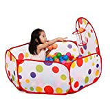 Play Tent with Basketball Hoop-1.2m Hexagon Polka Dot Kids Ball pit Play Pool Tent Carry Tote Indoor and Outdoor toy + basket by lanlan