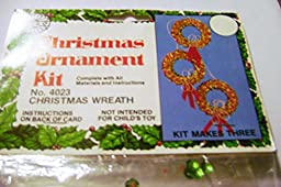 Walco Holiday Christmas Ornaments Kit Red and Green Wreaths Makes 3