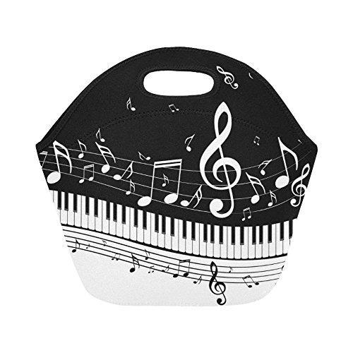 Cheap  InterestPrint Music Notes Paino Keys Reusable Insulated Neoprene Lunch Tote Bag Cooler..