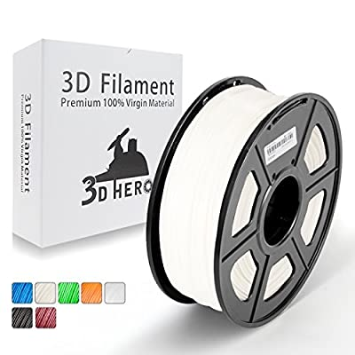 White PETG Filament 1.75 mm - 3D Printer Filament 1KG(2.2lbs) Spool,Dimensional Accuracy +/- 0.02 mm,(Solid Opaque White) - No Tangled