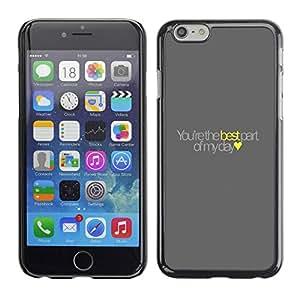 TopCaseStore / la caja del caucho duro de la cubierta de protección de la piel - Best Yellow Love Heart Text - Apple iPhone 6