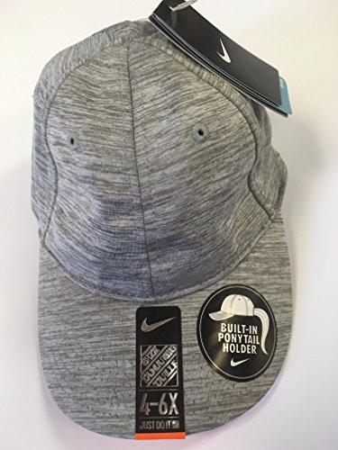 Nike Girls Only Tennis Running Cap Hat with Built-in Pony Tail Holder Dark Grey Heather, 4-6x
