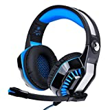 Beexcellent 2017 Newest 3.5mm PS4 PC Xbox One Gaming Headset Noise Cancelling Headphones with Microphone Volume Control and LED Light Xbox One Headset for PS5, PC, Mac, Computer-Blue