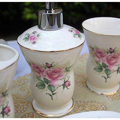 Elegant Bathroom Rose: USTARAIL Ceramic Bathroom 5 Pieces Set Supplies Pink