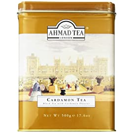 Ahmad Tea Black Cardamom Loose Tea, 17.6 oz 74 500 gram loose tea in a metal caddy Black tea flavored with cardamom Quality loose tea packed into a metal caddy to preserve flavor and freshness