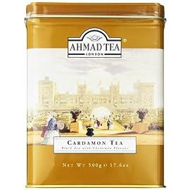 Ahmad Tea Black Cardamom Loose Tea, 17.6 oz 1 500 gram loose tea in a metal caddy Black tea flavored with cardamom Quality loose tea packed into a metal caddy to preserve flavor and freshness