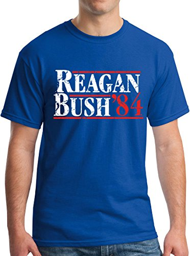 Reagan Bush 84 Shirt Gop Political T Shirt Cracked Royal S