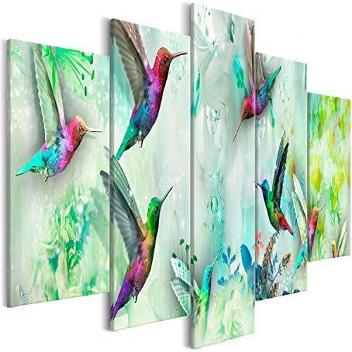 artgeist Handart Canvas Wall Art Hummingbirds 225×112 cm / 88.58″x44.3″ 5 pcs Painting Canvas Prints Picture Artwork Image Framed Contemporary Modern Photo Wall Home g-C-0070-b-o