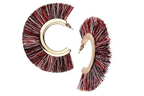 Mina Bohemian Statement Boho Tassel C Shape Fringe 3 Inch Drop Updated Ethnic Warrior Hoop Multi Rainbow Earrings