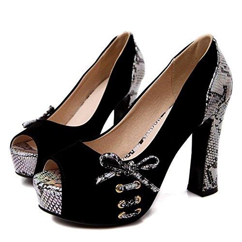 Peep Femmes 6 Escarpins Toe TAOFFEN Black 8wdqYn5