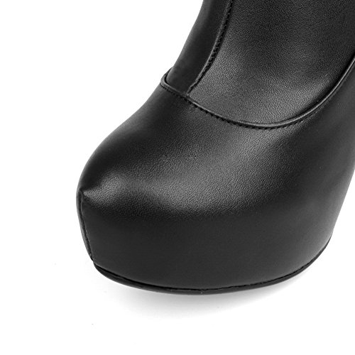 Round Heels 5 M AmoonyFashion Spikes Closed Stilettos Platform US 6 Boots with Black Solid Womens Synthetic High Toe B XrTZZ5Wq