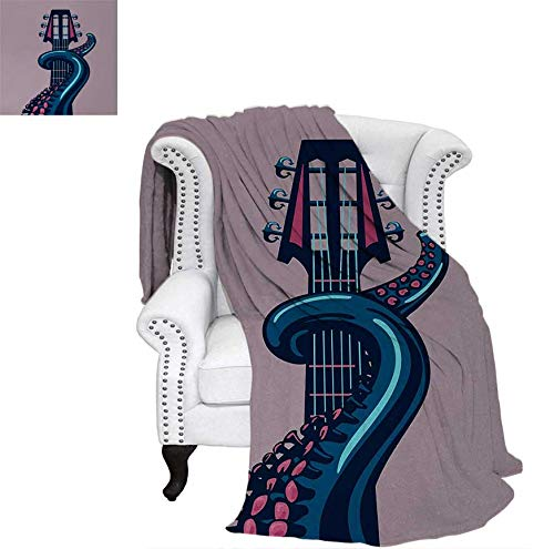 (Oversized Travel Throw Cover Blanket Sea Animal with Guitar Riff Musical Instrument Rock and Roll Modern Artwork Print Super Soft Lightweight Blanket 90