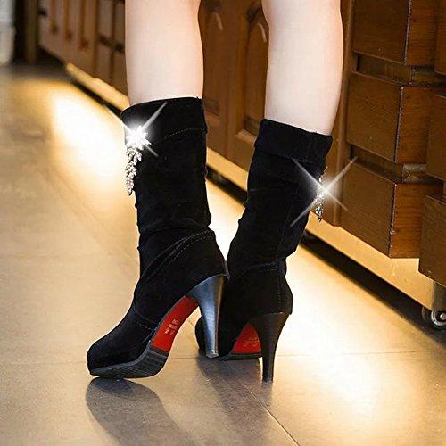 Zapatos Los Diamante Partido EUR35 Artificial Grueso Las Redondean Del Del negro Alto Botas Todo Talón el Altas el Impermeables Femeninas Mesa con de Fino Grueso nnSaZ