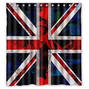Eco Friendly Cool British Flag United Kingdom Union Jack Shower Curtain Waterproof Bathroom