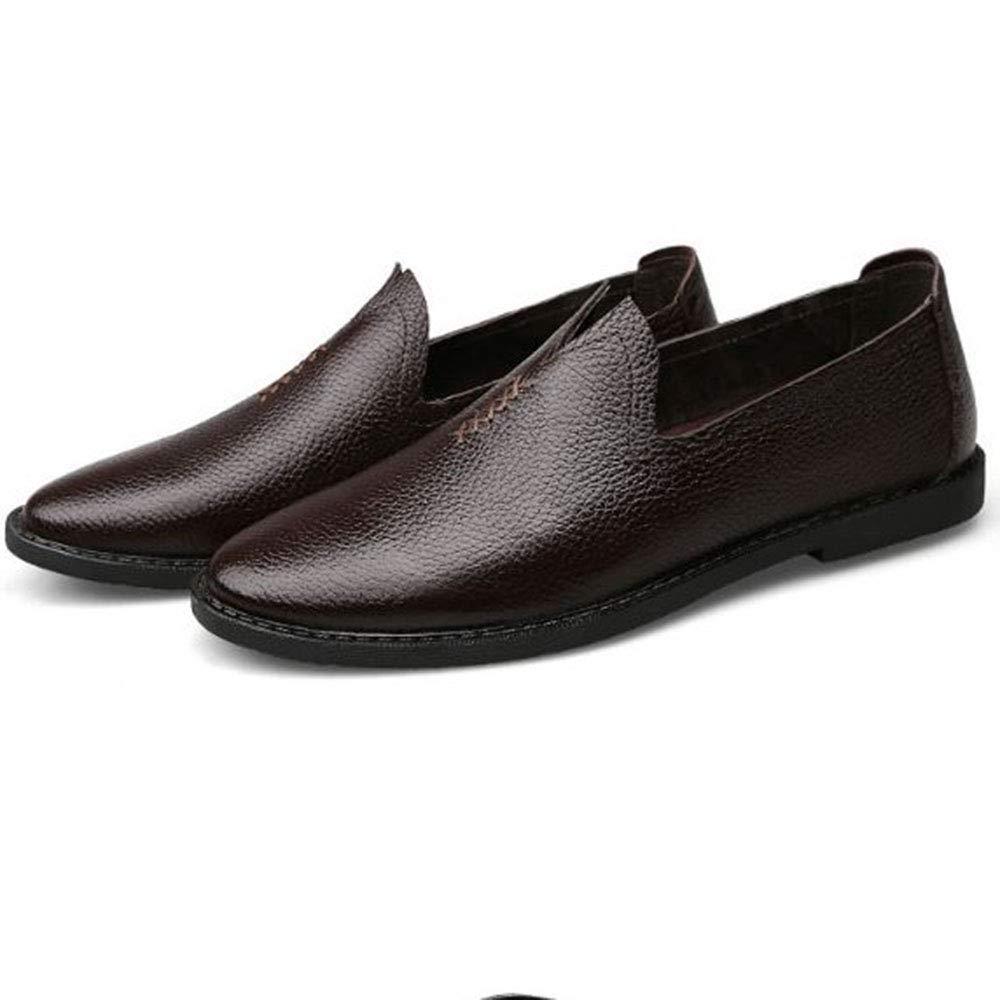 AFCITY Sommer Herren Lederschuhe Füße Weiß Klassischer Freizeitschuhe Fahren Schuhe Loafers Klassischer Weiß Stiefelschuh (Farbe : Braun, Größe : 39 1/3 EU) Braun d7fbb2
