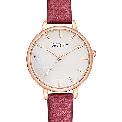 Scpink Relojes de Cuarzo para Mujer, Venta análoga a la Venta Relojes de Pulsera para Mujer Relojes de niña Relojes de Cuero para Mujer (Rojo): Amazon.es: ...