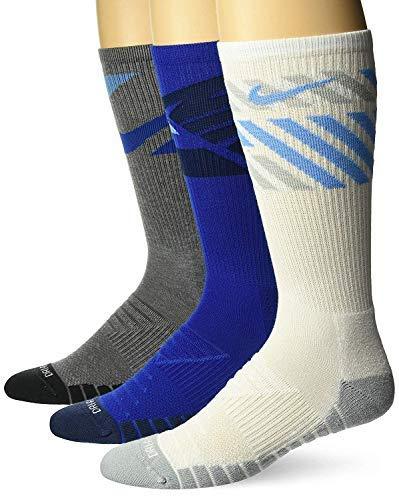 Nike 3-pk Dri-fit Cushioned Crew Socks for Men (Blue White Grey, Large) by Nike