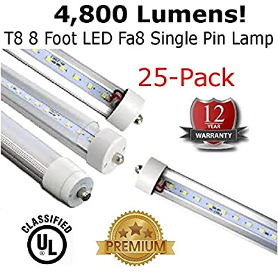 T8 LED 8 Foot Lamp Fa8 Single Pin 4,800 Lumens (Case of 25) - 12 Year Warranty