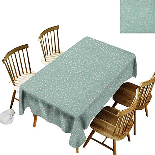 DONEECKL Turquoise Home Decoration Tablecloth Anti-Overflow Tablecloth Abstract Stalks with Geometric Leaves Ornamental Motifs Rhombic Elements Almond Green Cream W70 xL102