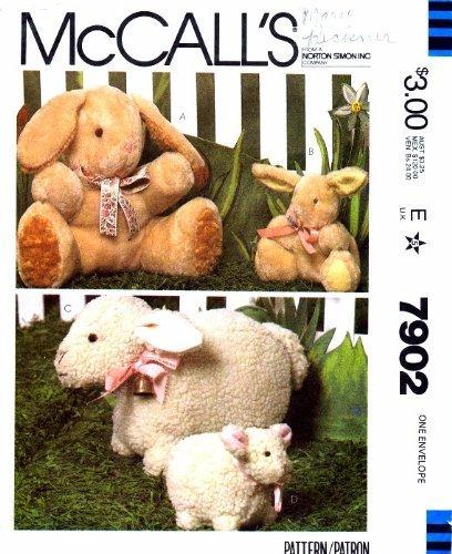 McCall's 7902 Crafts Sewing Pattern Stuffed Animals Bunny Lamb ()