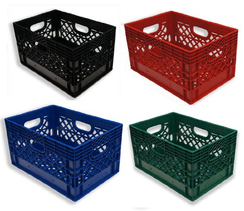 24qt 4 Pack Black, Blue, Red, & Green Milk Crates