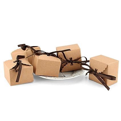 VEESUN Cajas para Regalo Kraft, 50pcs Pequeñas Bolsas de Regalo Caja de Dulces con Cuerda de Yute Vintage Papel de Bolsita Regalo para Aniversario ...