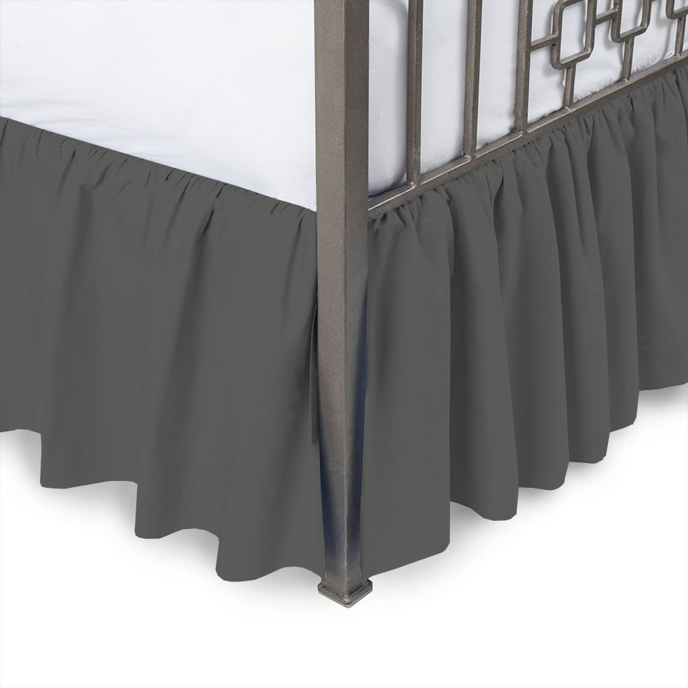 Ruffled Bed Skirt With Split Corners Style 3 Sided Coverage Burgundy Color