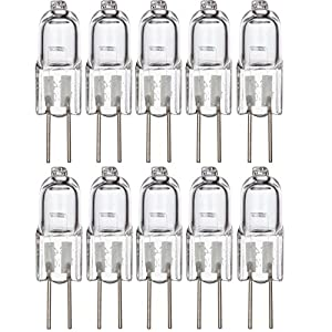 [10 Pack] Simba Lighting Halogen G4 T3 10 Watt 120lm Bi-Pin Bulb 12 Volt A/C or D/C for Accent Lights, Under Cabinet Puck Light, Chandeliers, Track Lighting, 10W 12V 2 Pin JC Warm White 2700K Dimmable