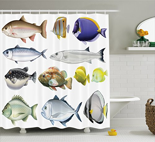 Ocean Animal Decor Shower Curtain by Ambesonne, Type of Pacific Fish with Mackerel Salmon and Sea Bass Exotic Wild Home Decor, Fabric Bathroom Decor Set with Hooks, 70 Inches, Multi (Fish Pacific Ocean)