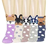FULIER Women Girl's Funny Cute Animal Design Cotton Rich Socks, Comfortable, Breathable, UK4-7 (Color-4)
