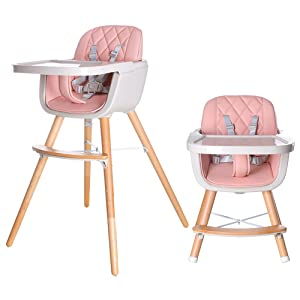 HAN-MM Baby High Chair with Removable Gray Tray, Wooden High Chair, Adjustable Legs, Harness, Feeding Baby High Chairs for Baby/Infants/Toddlers Style 3 Pink