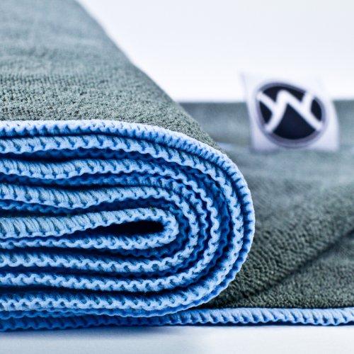 "Yoga Towel 24"" X 72"" By Youphoria Yoga (Gray Towel / Blue"
