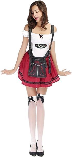 XFentech Vestido de Dirndl para Mujeres, Disfraz de Baviera ...