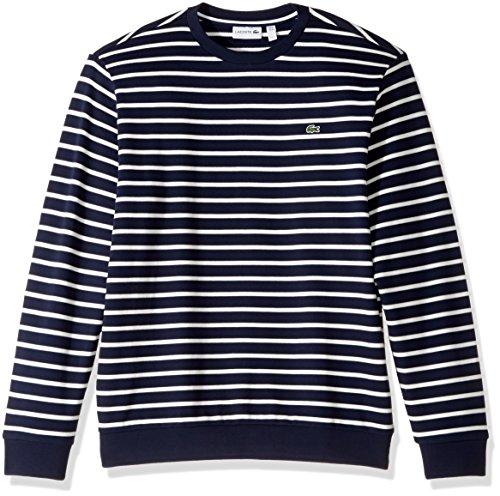 Lacoste Men's Crewneck Stripe Fleece Sweater, SH1969-51, Navy Blue/Flour 4X-Large