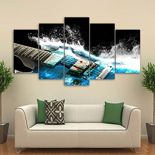 [LARGE] Premium Quality Canvas Printed Wall Art Poster 5 Pieces / 5 Pannel Wall Decor Abstract guitar Painting, Home Decor Pictures - With Wooden Frame (Wall Guitar Abstract)