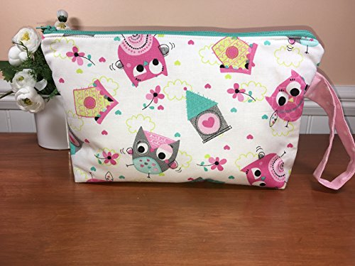 Large Owls Wristlet Zipper Pouch, Cosmetic Bag, Travel Pouch