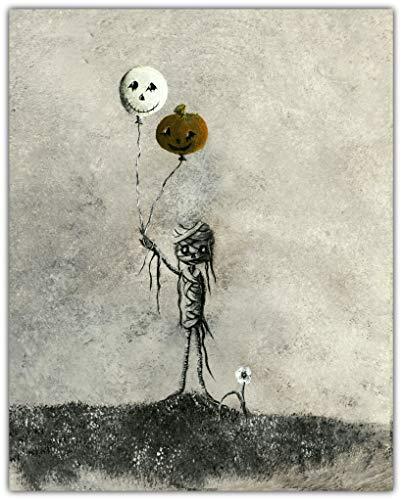 Halloween mummy with ghost and pumpkin balloon Giclee print