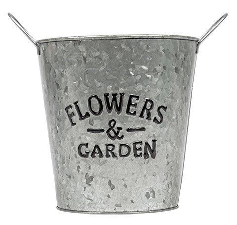 Galvanized Flowers & Garden Metal Planter Farmhouse Decor