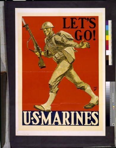MARINES 1941 vintage ad style poster print U.S