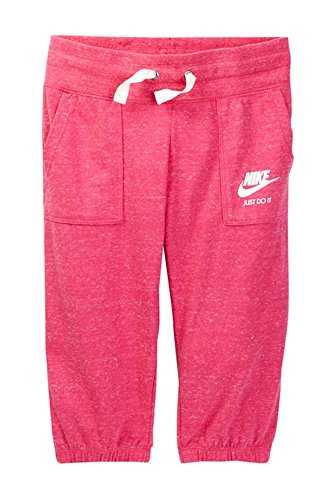 Nike Vintage Gym Capri Pant (Big Girls), Vivid Pink - Large by NIKE